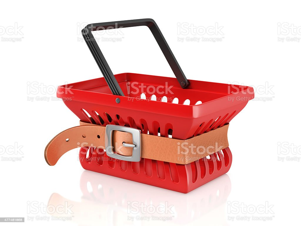 shopping basket with tighten belt stock photo