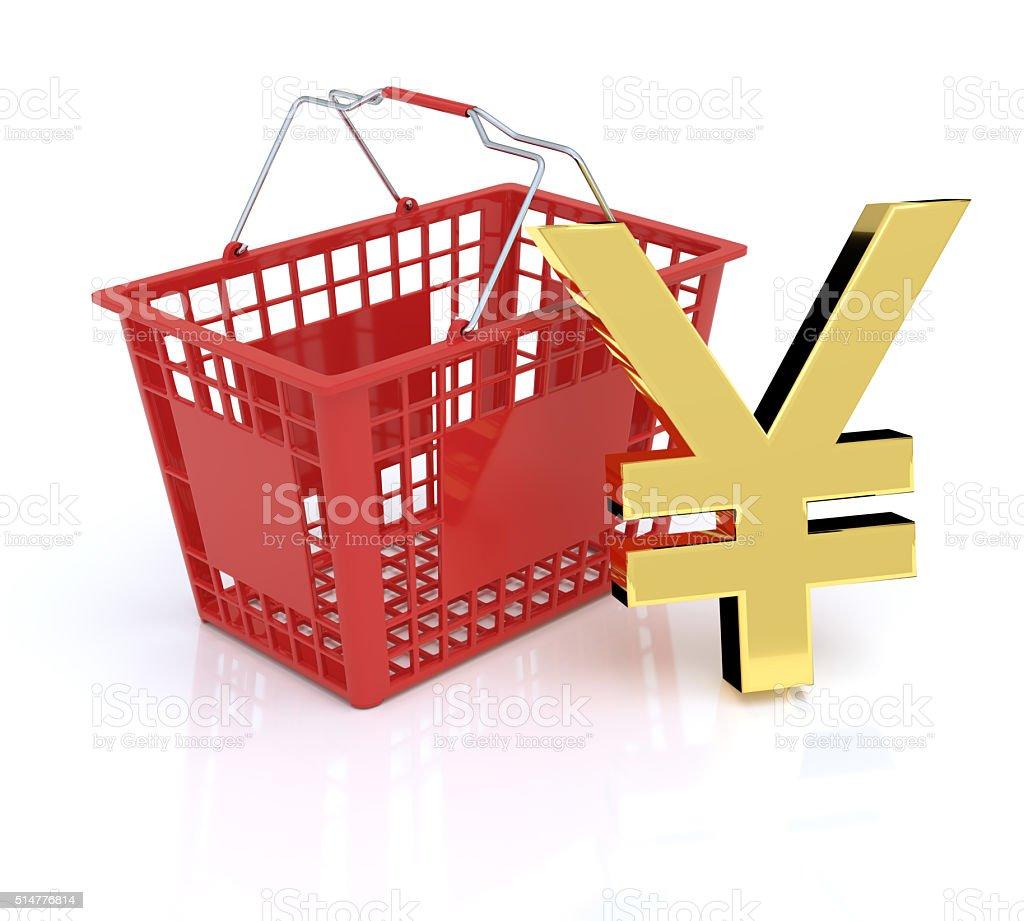 Shopping Basket With Yen - Yuan Symbol stock photo