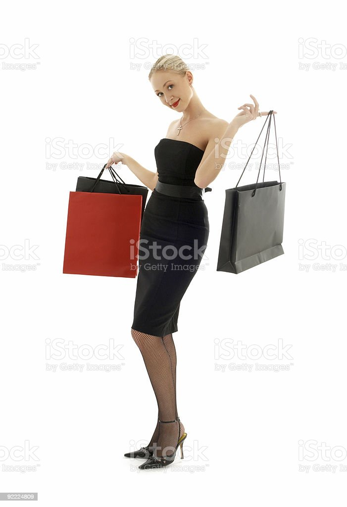 shopping blond in black dress #2 royalty-free stock photo