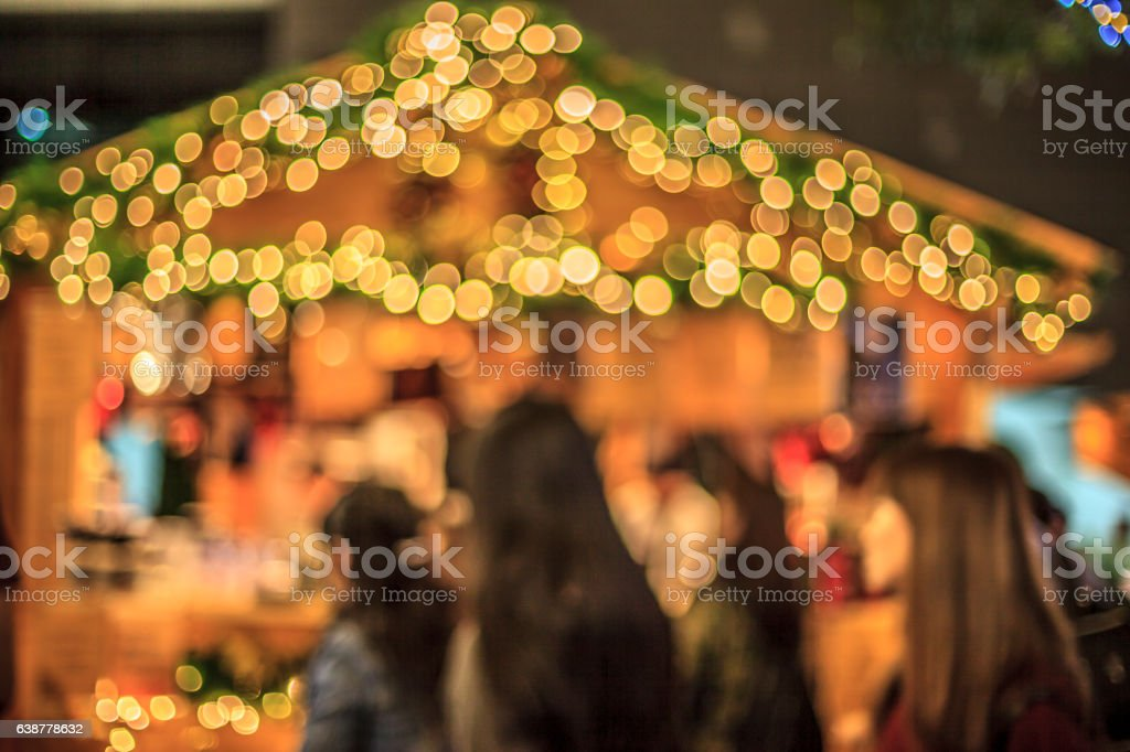 shopping blurred image in christmas city stock photo