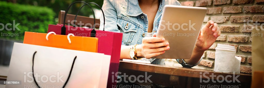 Shopping Buying Commerce Customer Happiness Concept stock photo