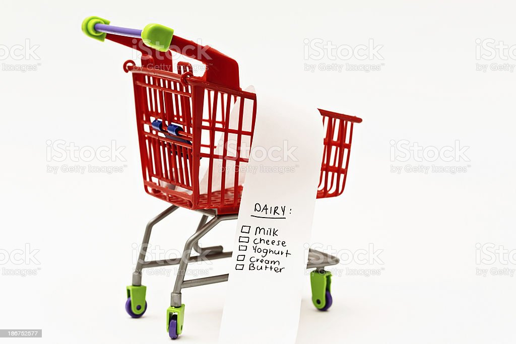 Shopping by food group: list headed Dairy in trolley royalty-free stock photo