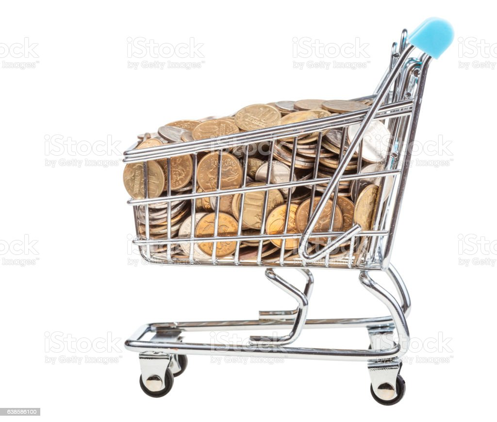 shopping carriage with russian coins isolated stock photo