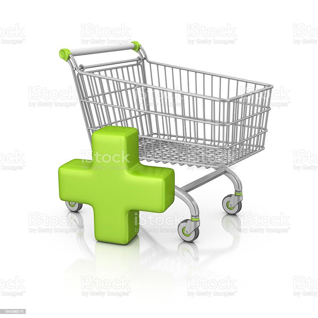 shopping cart and add sign stock photo