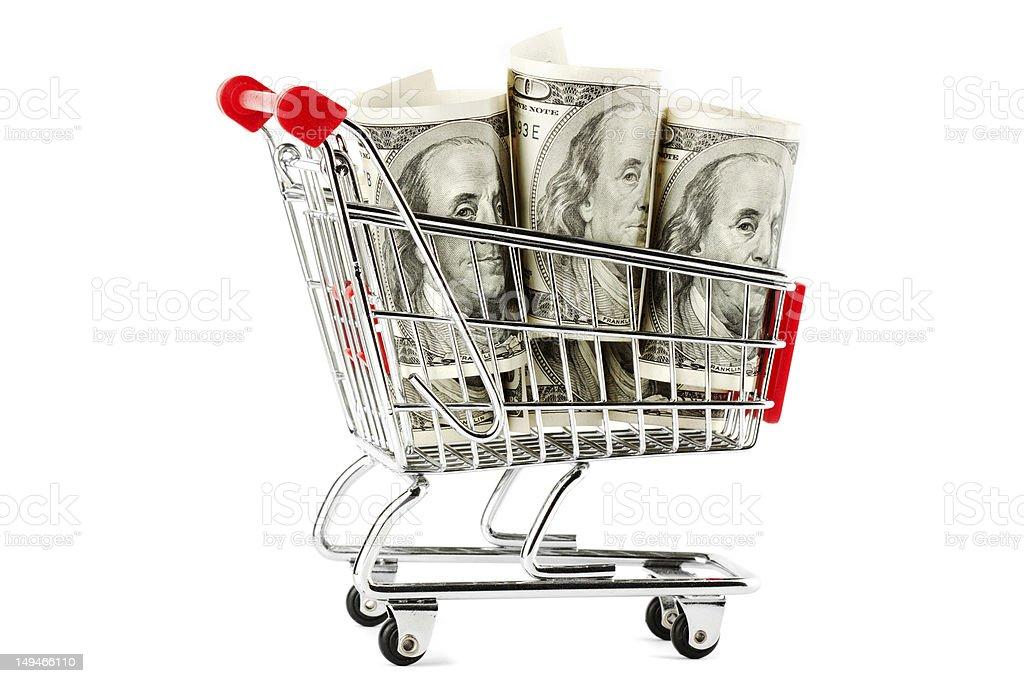 Shopping cart and dollars royalty-free stock photo