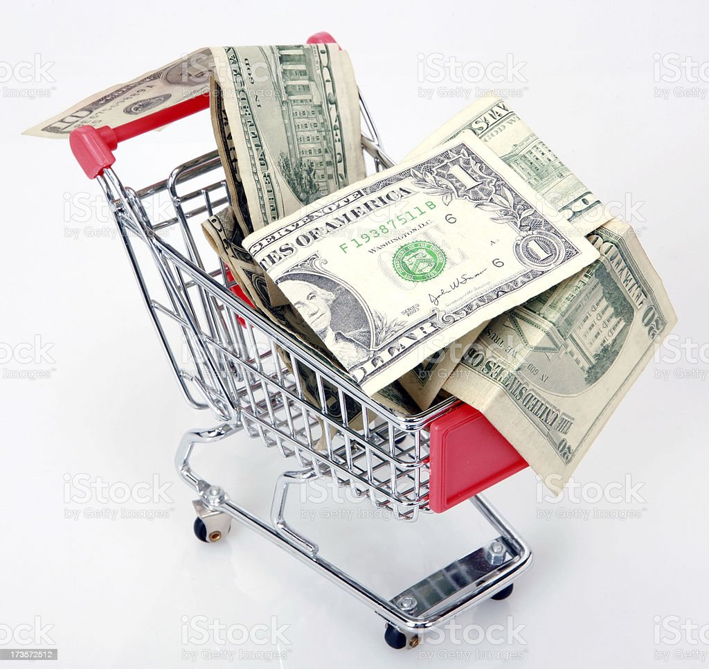 shopping cart and dollars royalty-free stock photo