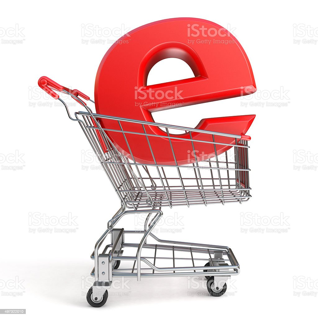 Shopping cart and E symbol. E-shop concept. 3D render stock photo