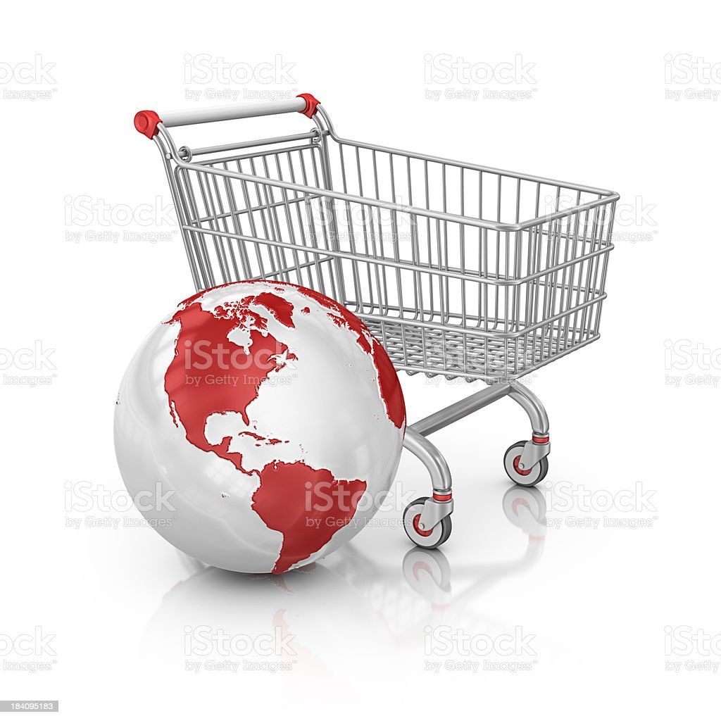 shopping cart and earth stock photo