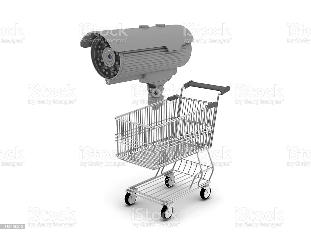 Shopping cart and security camera on white background royalty-free stock photo