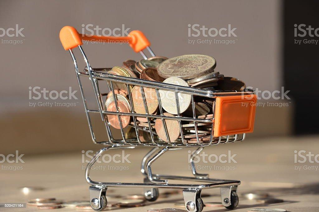 shopping cart background stock photo