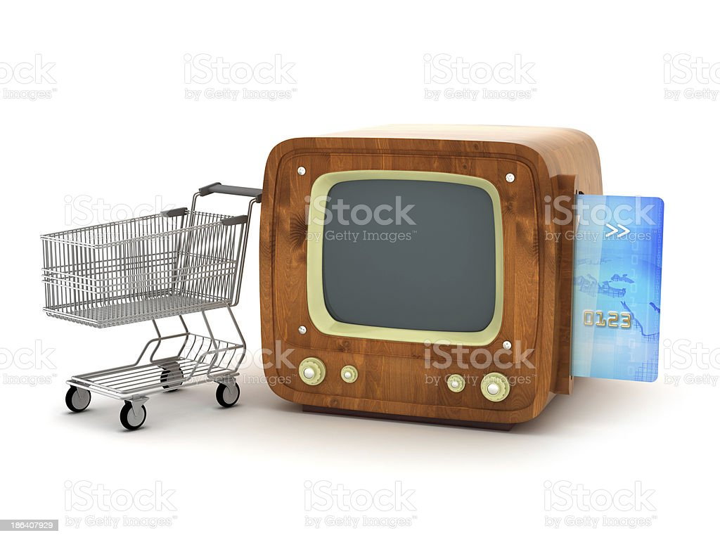 Shopping cart, credit card and retro TV stock photo