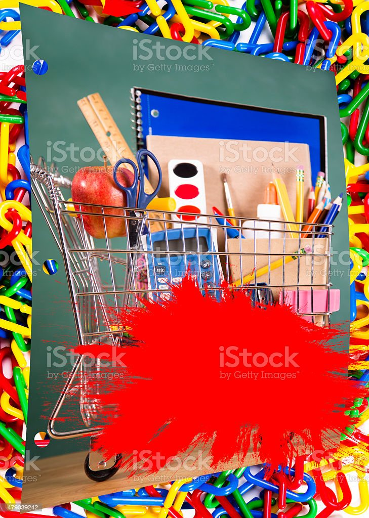 Shopping cart filled with back to school supplies. Links border. stock photo