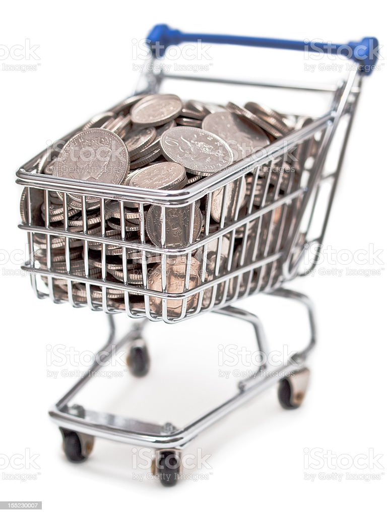 Shopping cart filled with British silver coins royalty-free stock photo