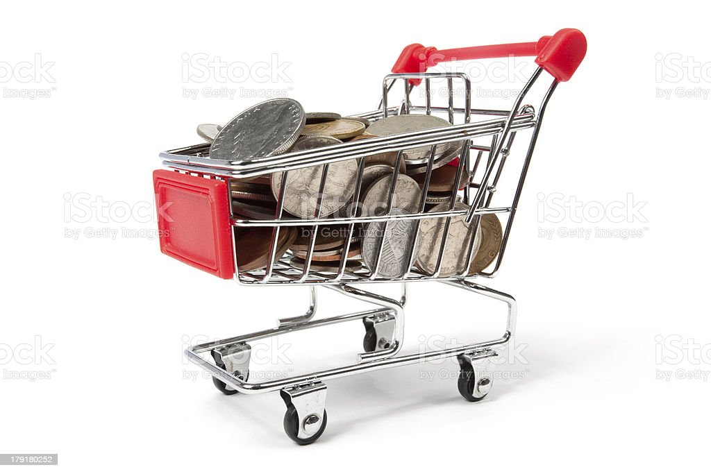 Shopping Cart Filled with Coins royalty-free stock photo