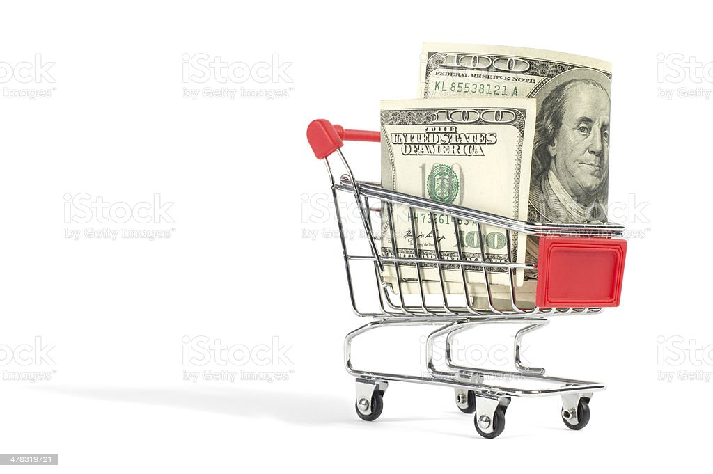 Shopping Cart Filled with Money stock photo