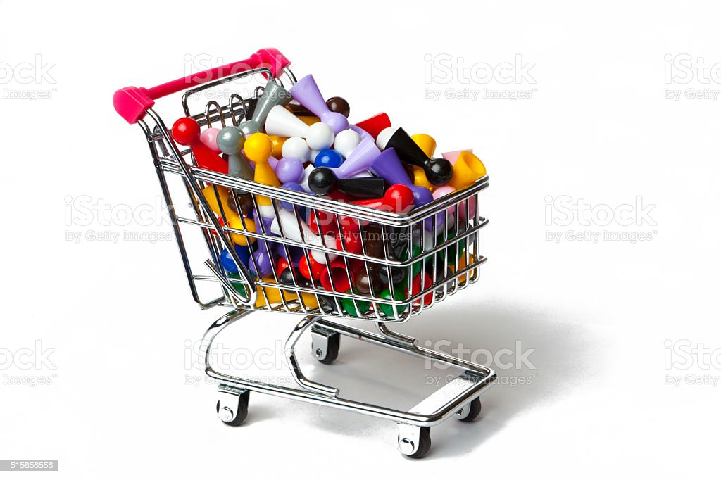 Shopping Cart Full of Pawns stock photo