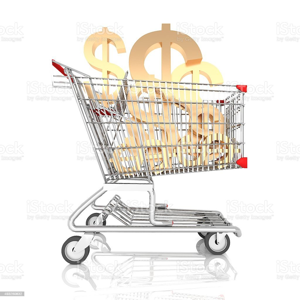 shopping cart full with sign of american dollar stock photo