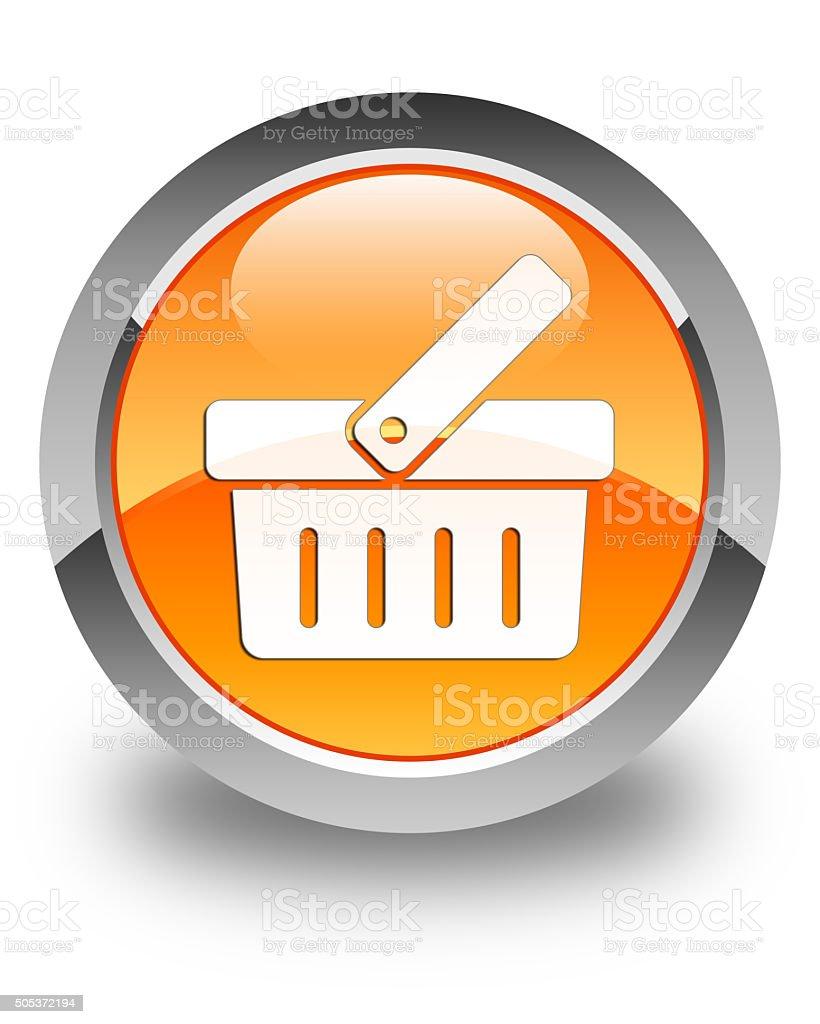 Shopping cart icon glossy orange round button stock photo