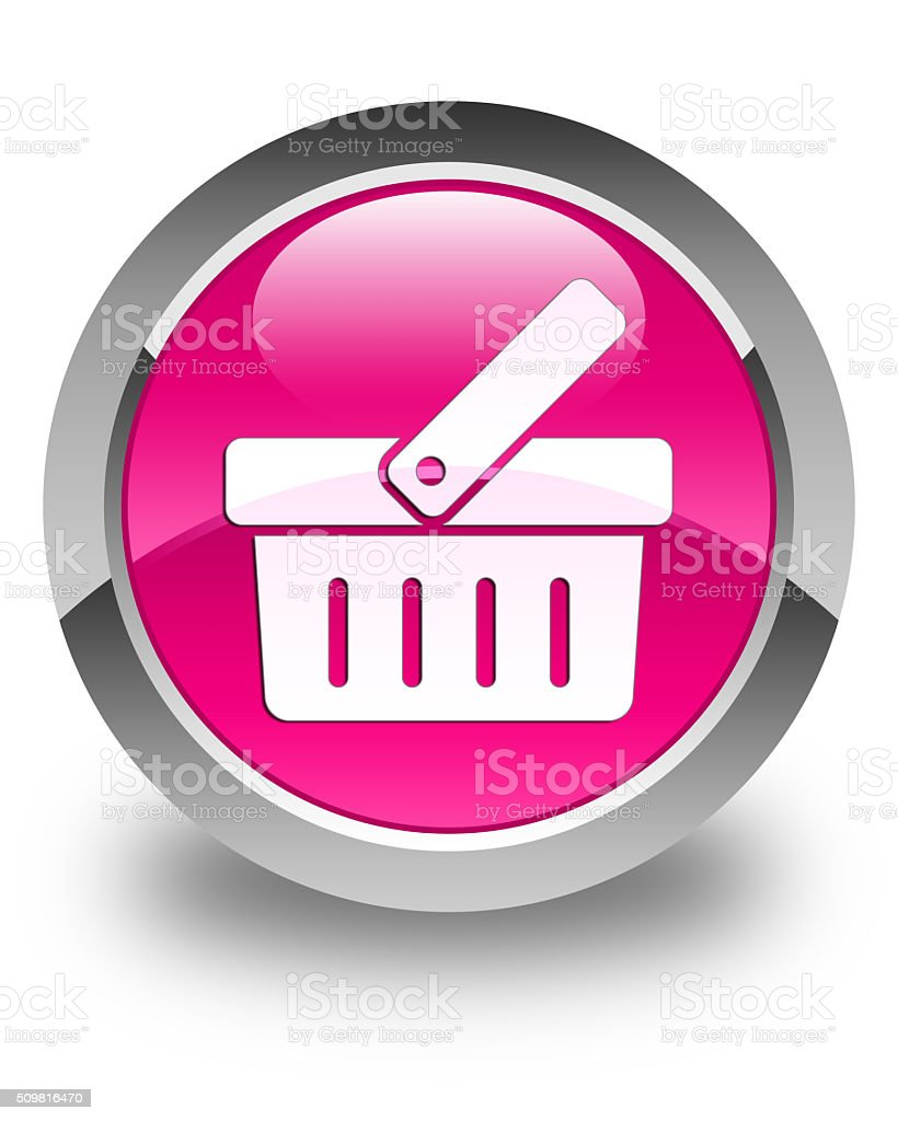 Shopping cart icon glossy pink round button stock photo