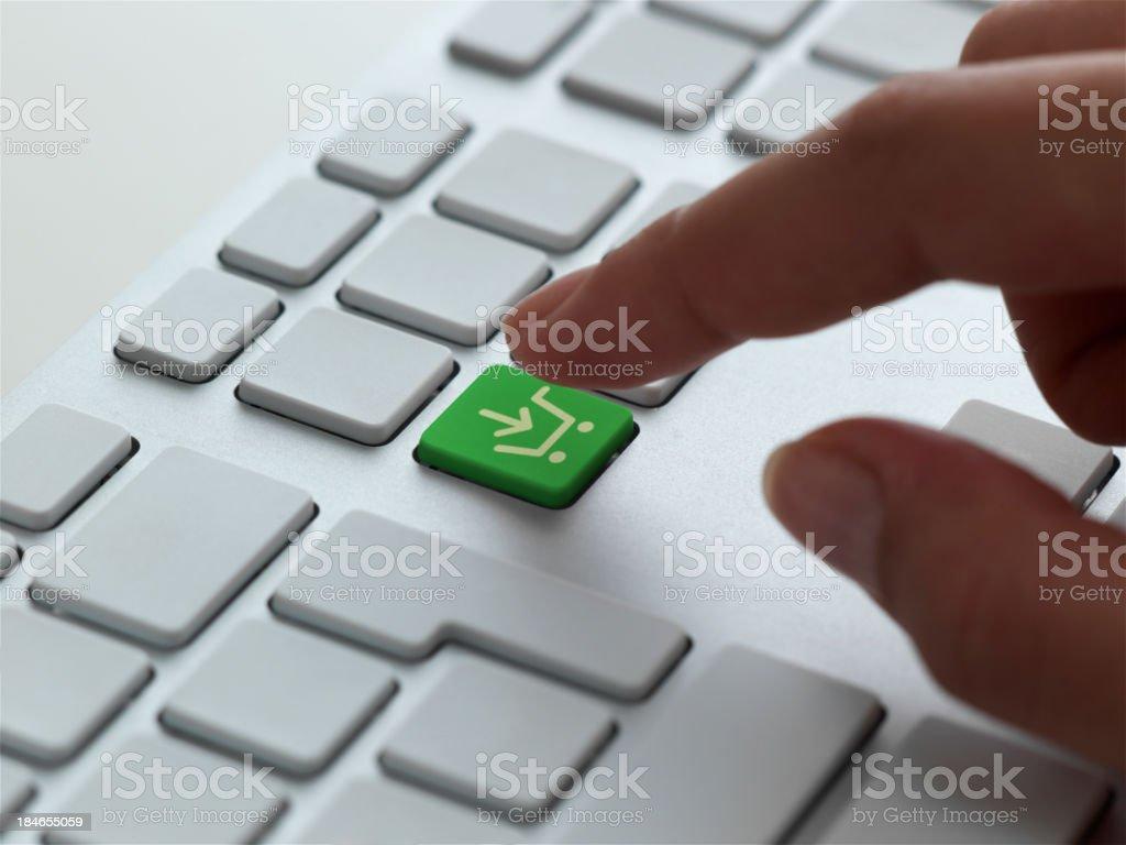 Shopping cart icon on keyboard royalty-free stock photo