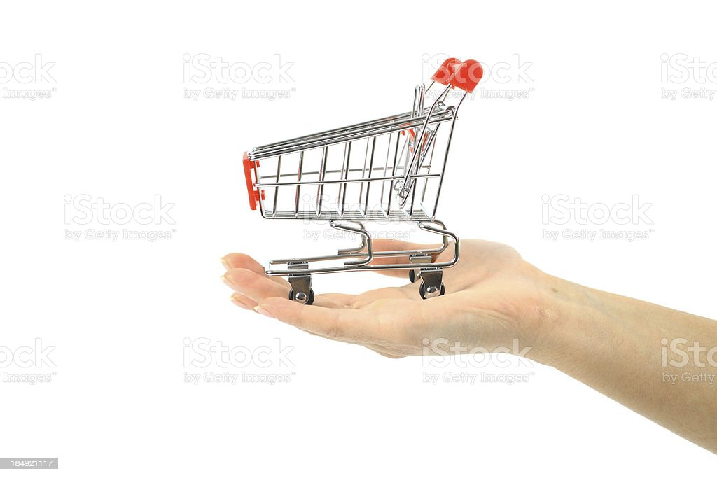 Shopping cart in hand royalty-free stock photo
