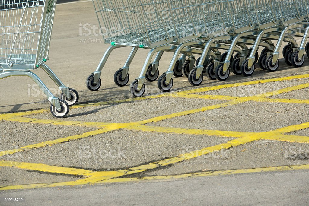shopping cart in supermarket stock photo
