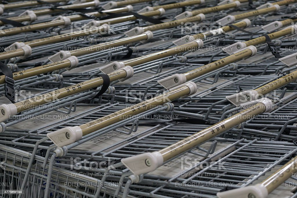 Shopping cart in walmart from china stock photo