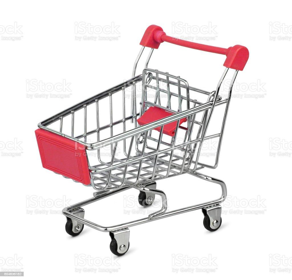 Shopping cart isolated on white background stock photo