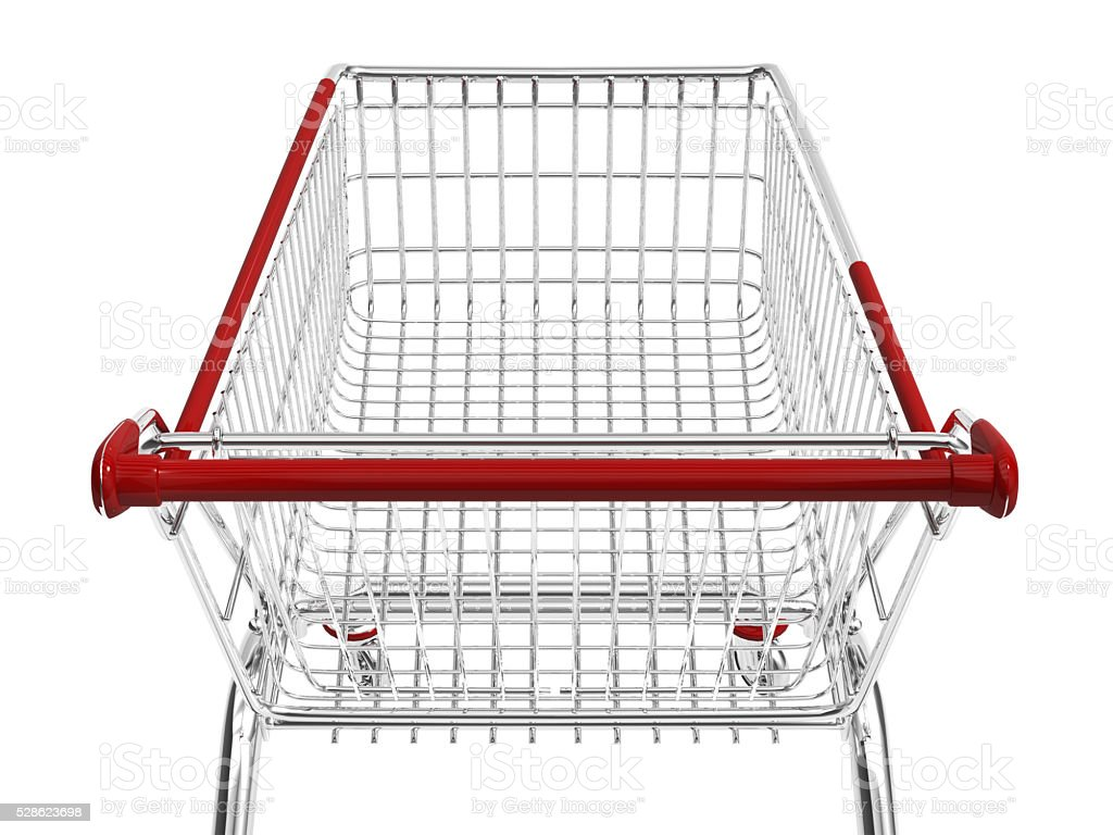 shopping cart isolated on white.3D rendering. stock photo