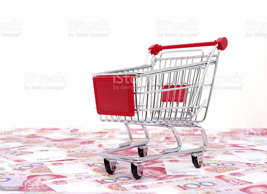 Shopping Cart on the RMB isolated on white background royalty-free stock photo