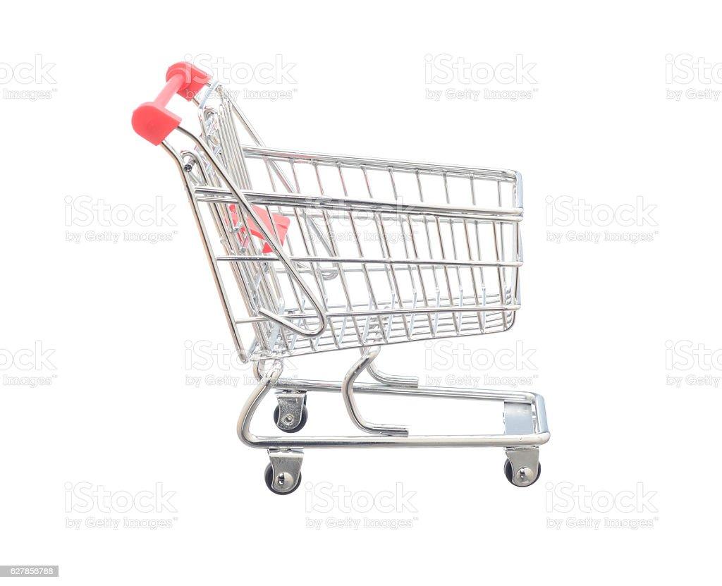 Shopping cart on white background stock photo