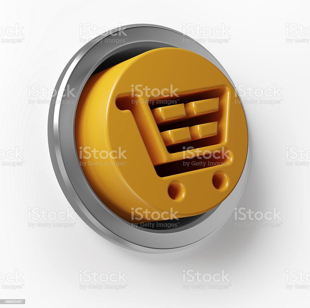 3D Shopping Cart Push Button stock photo