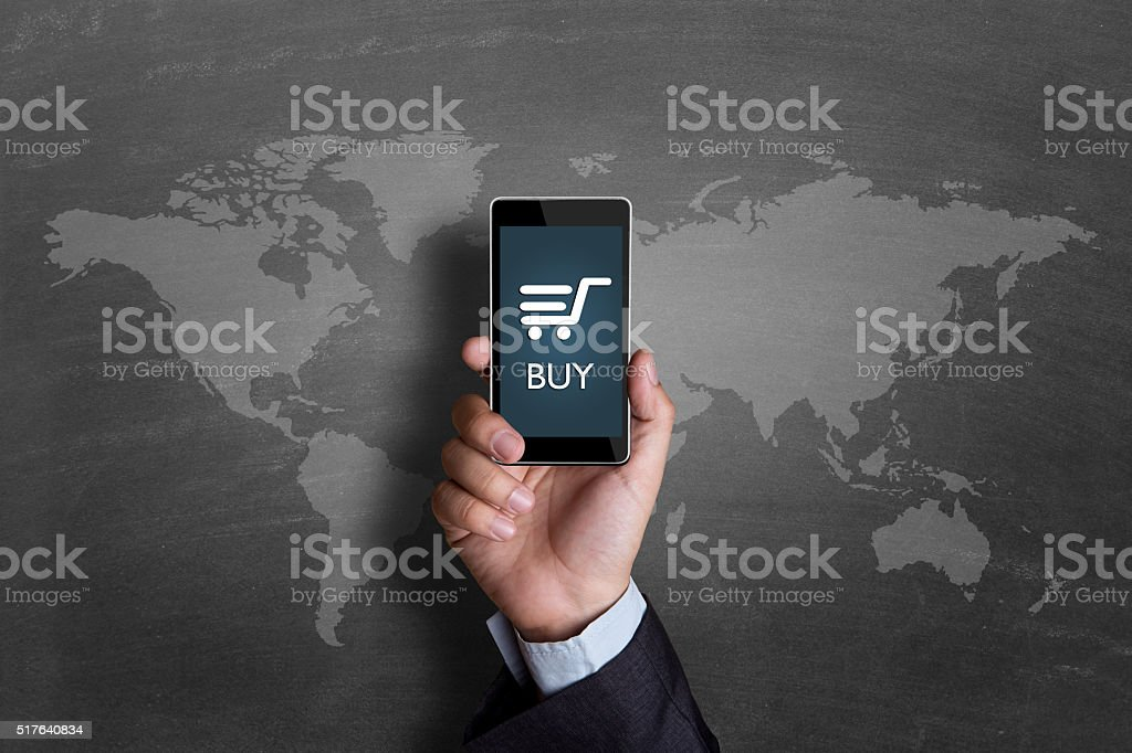 Shopping cart sign on mobile phone screen stock photo