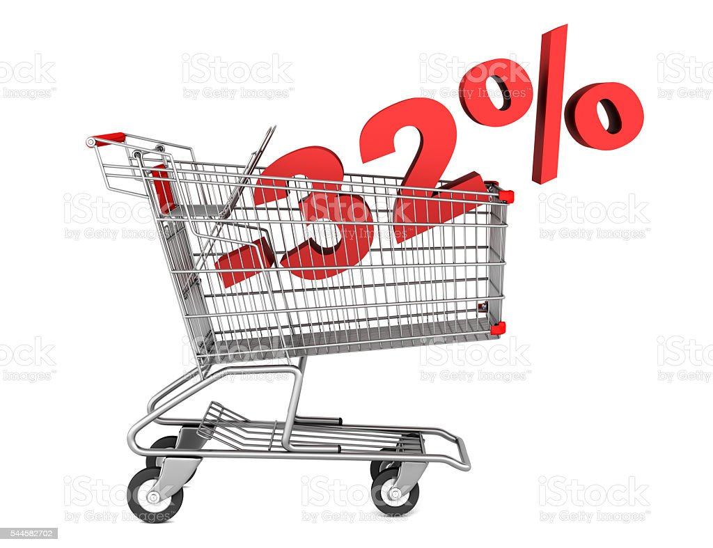 shopping cart with 32 percent discount isolated on white background stock photo