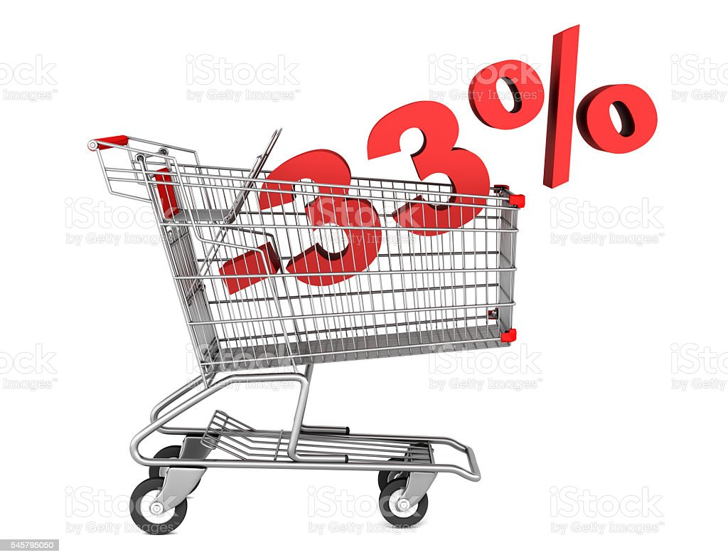 shopping cart with 33 percent discount isolated on white background stock photo