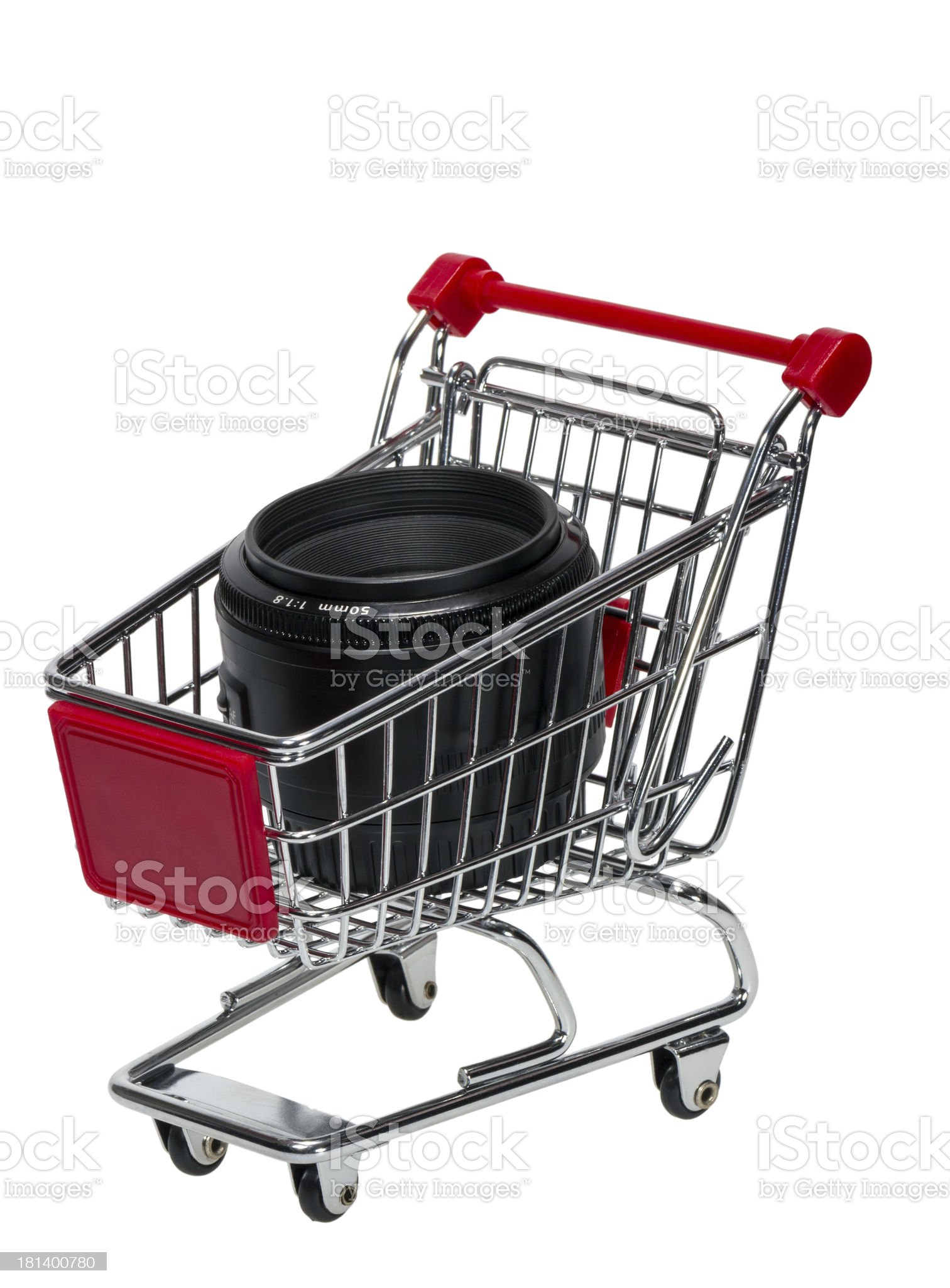 Shopping Cart with a camera lens royalty-free stock photo