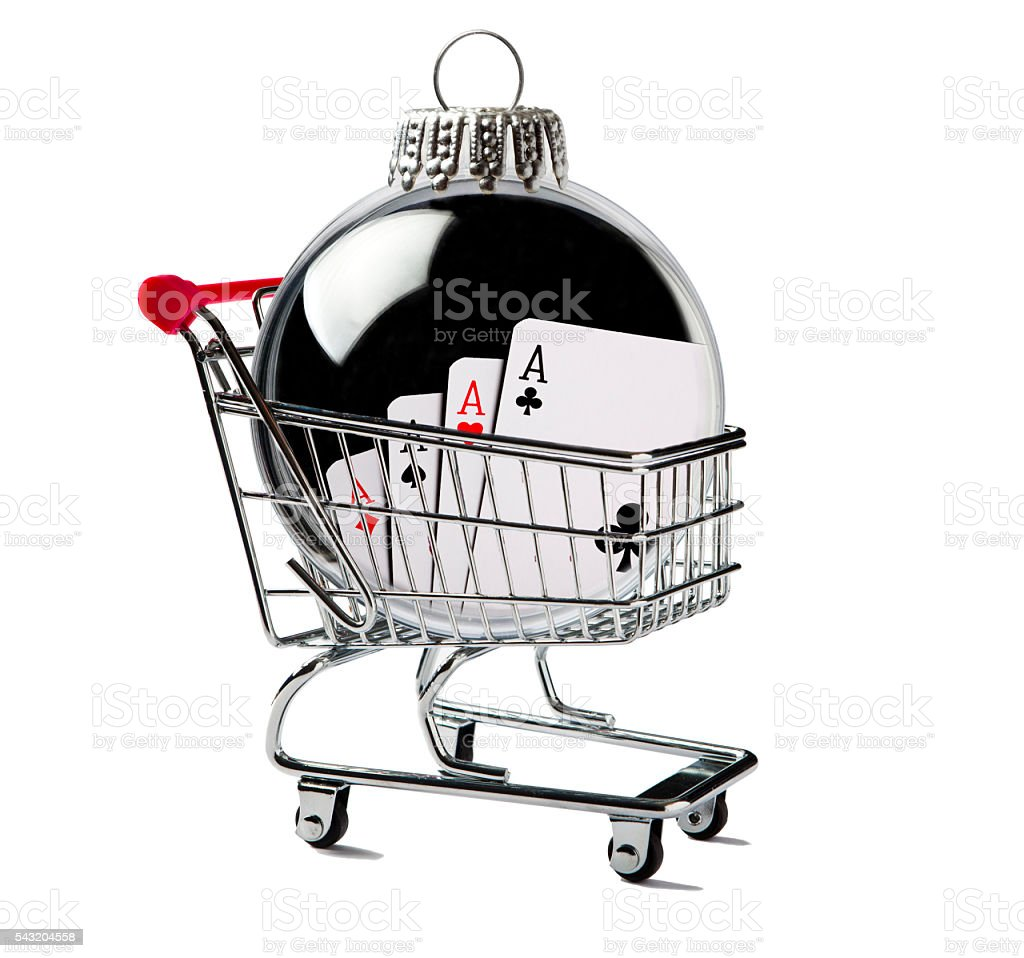 Shopping Cart with a Cards in a Christmas Ornament stock photo