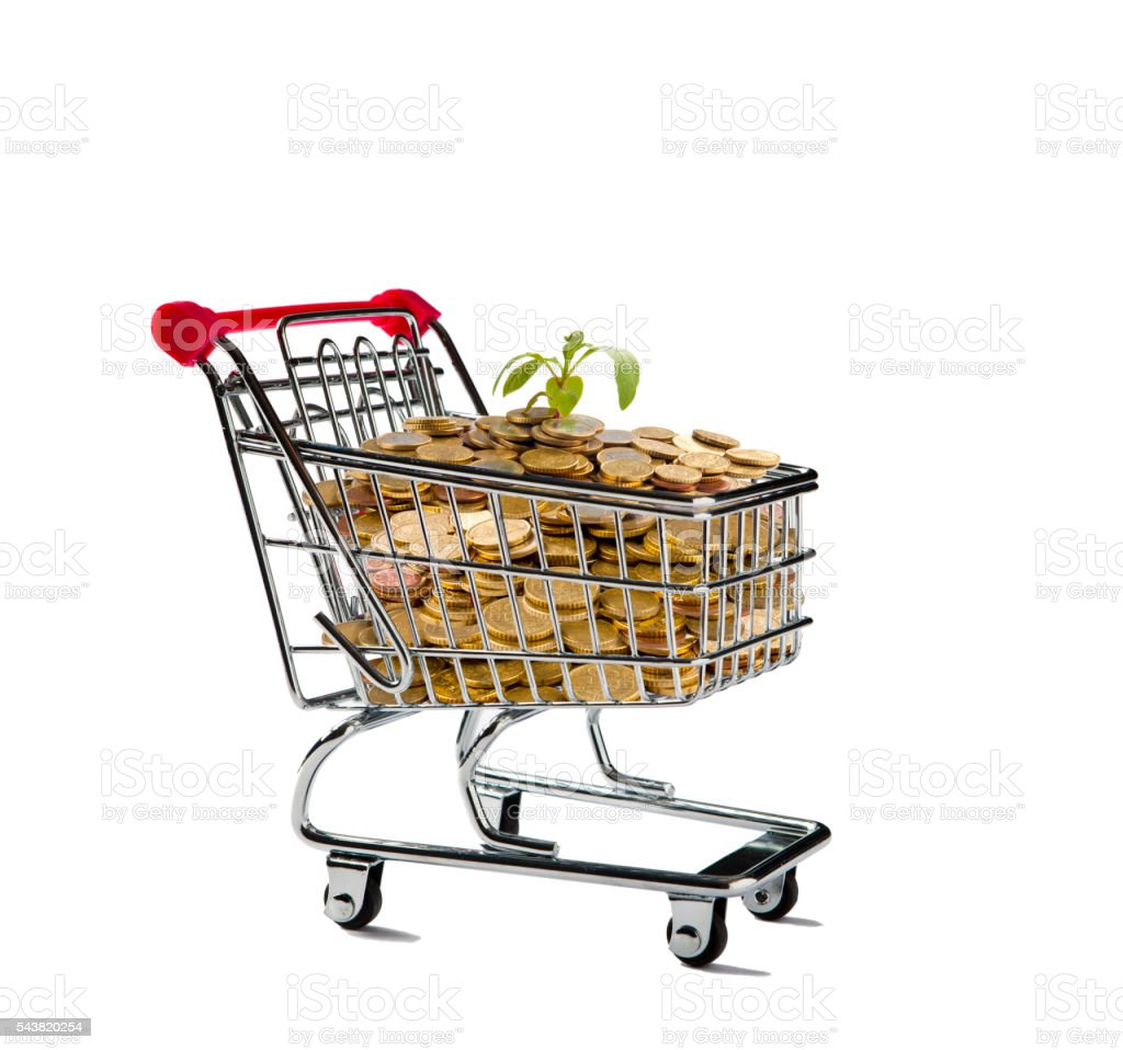 Shopping Cart with a Full of Coins stock photo
