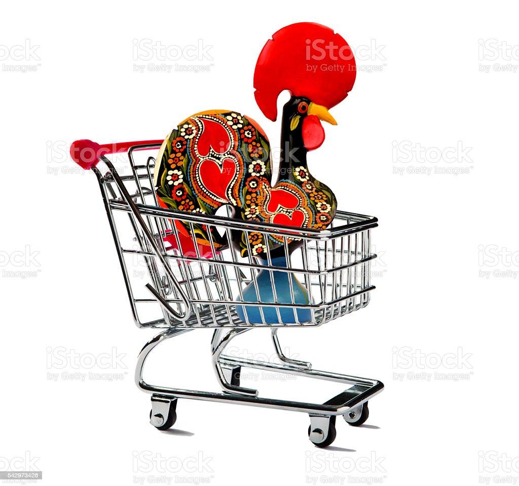 Shopping Cart with a Galo de Barcelos stock photo