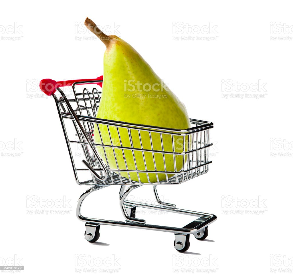 Shopping Cart with a Pear stock photo