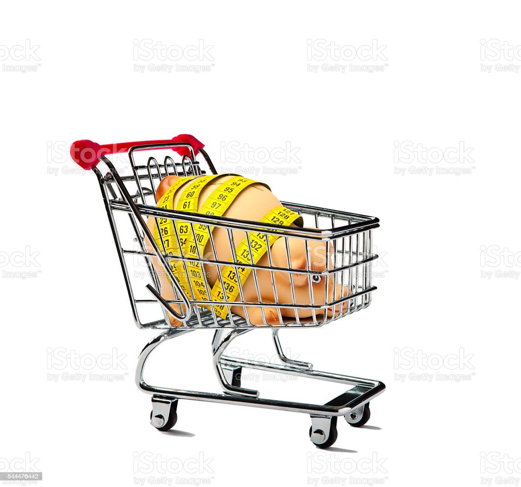 Shopping Cart with a Piggy Bank stock photo