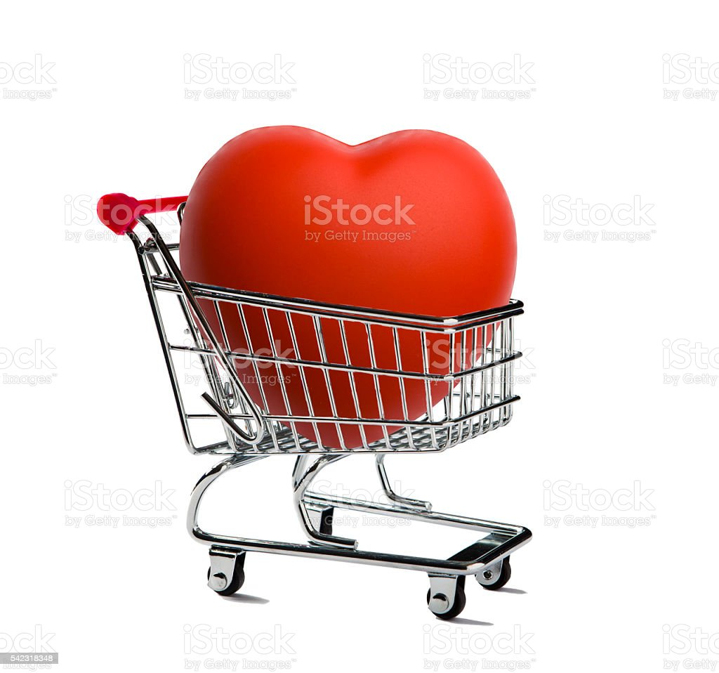 Shopping Cart with a Red Heart stock photo