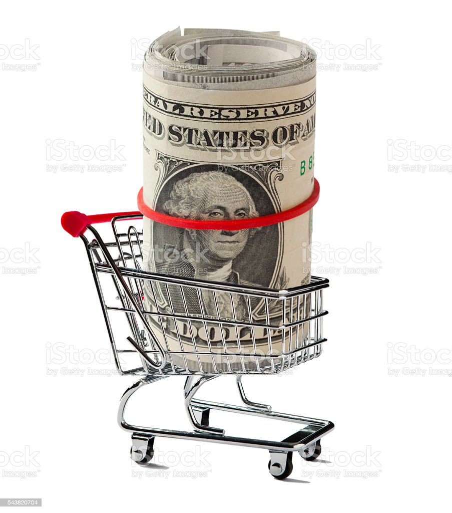 Shopping Cart with a US Paper Rolled Up stock photo