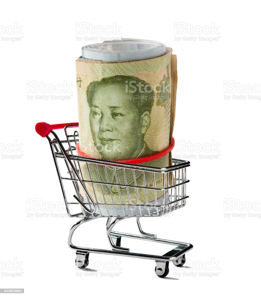 Shopping Cart with a Yuan Rolled Up stock photo
