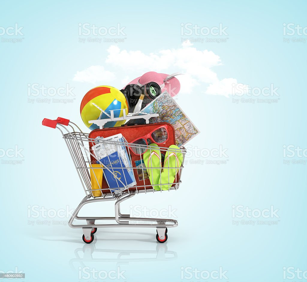 Shopping cart with beach accessories. stock photo