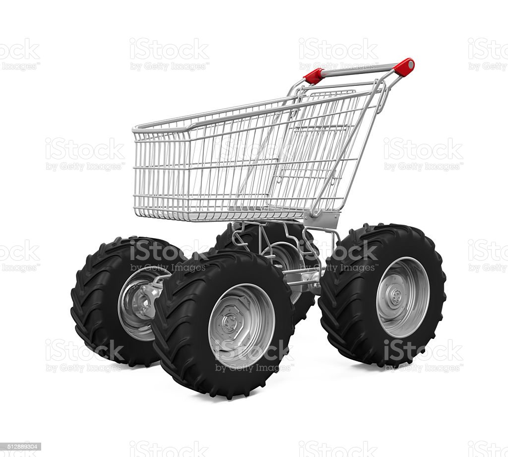 Shopping Cart With Big Car Wheel stock photo