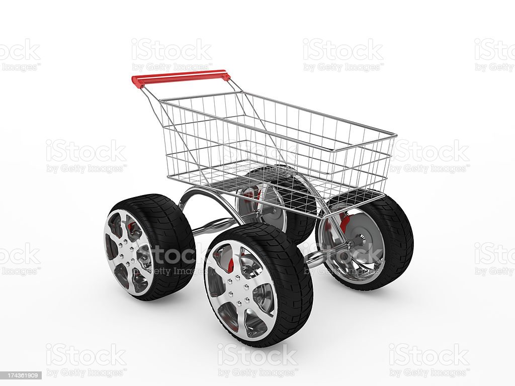 Shopping cart with big wheels, isolated on white royalty-free stock photo