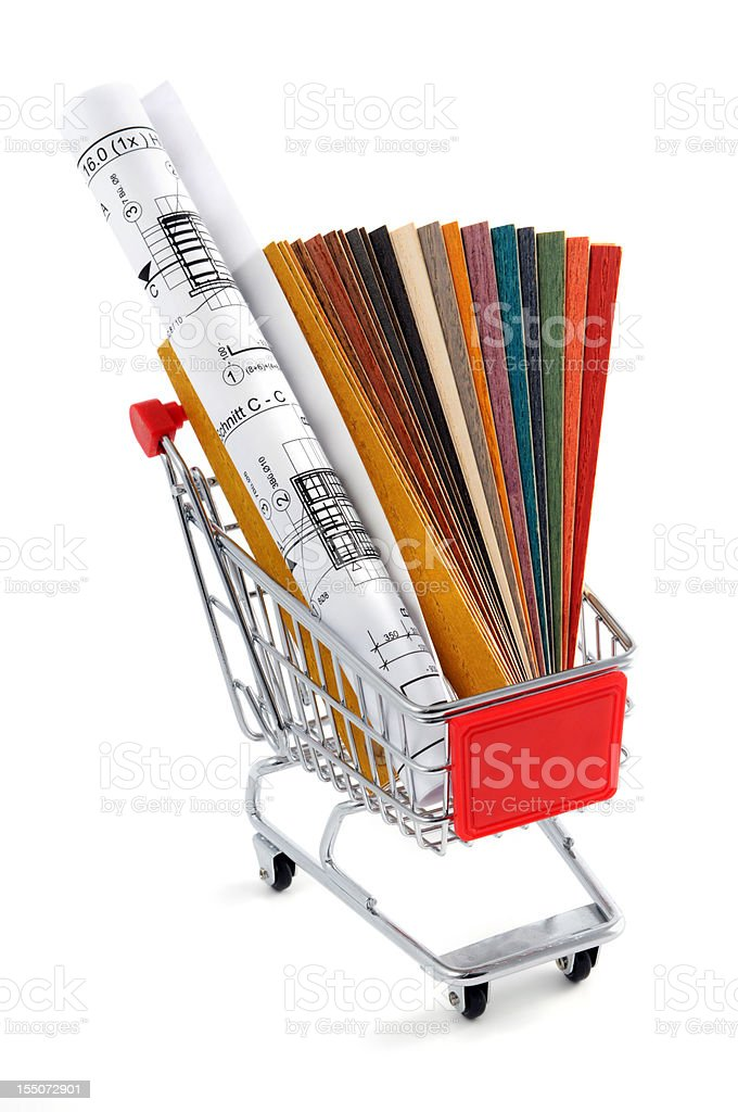 shopping cart with blueprint plan and color swatch stock photo