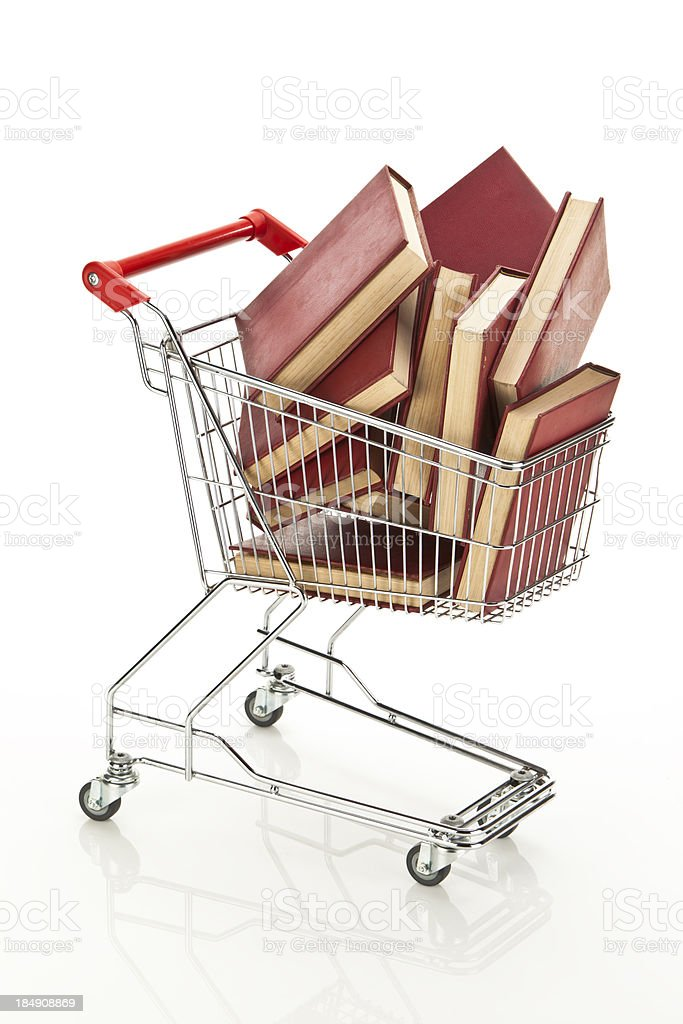 Shopping Cart with Books stock photo