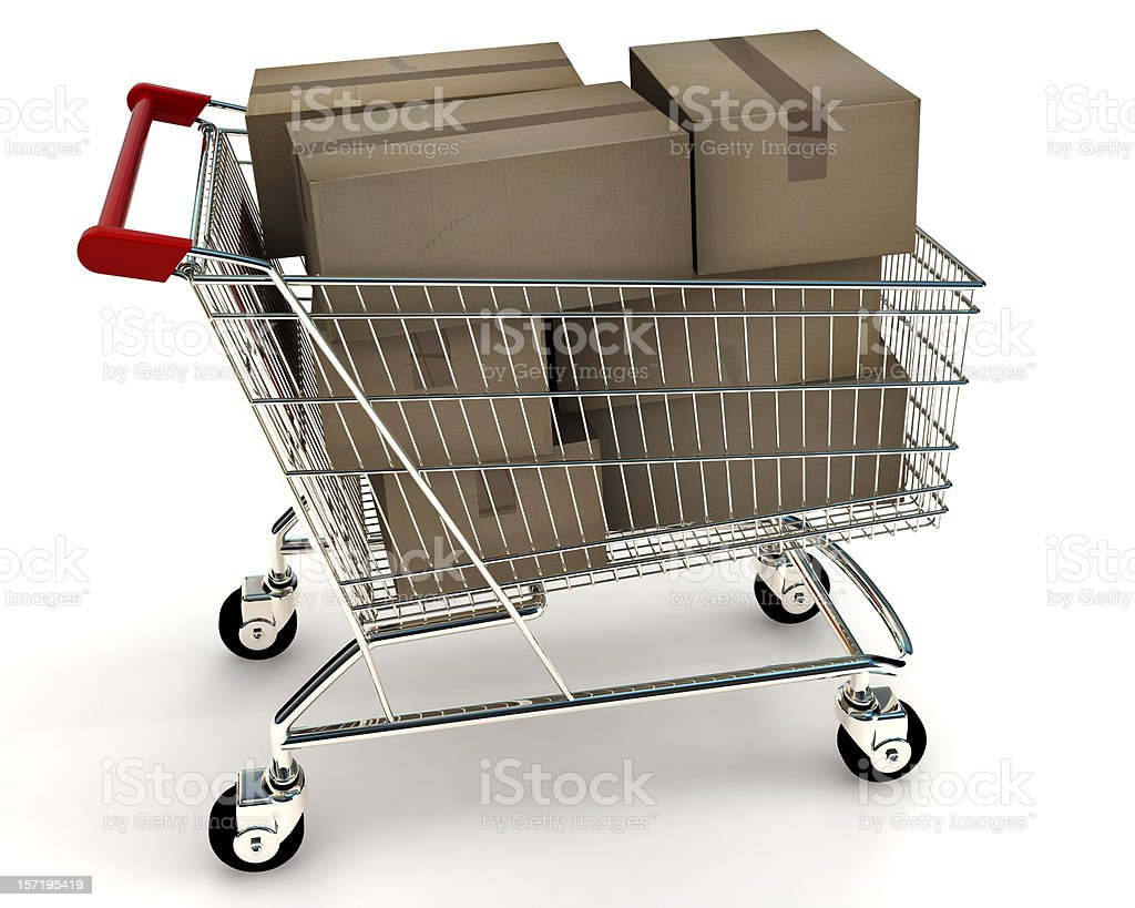 Shopping Cart with Boxes stock photo